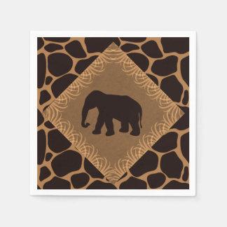 Safaritemaelefant över girafftryck papper servett