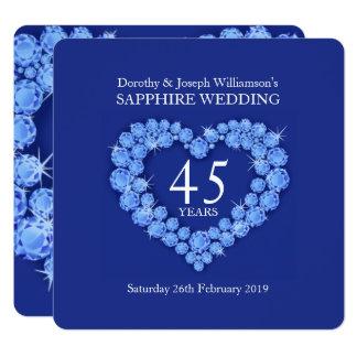 Safirbröllophjärta 45 år partyinbjudan fyrkantigt 13,3 cm inbjudningskort