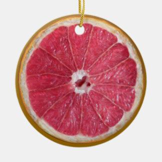 Saftig röd grapefrukt julgransprydnad keramik