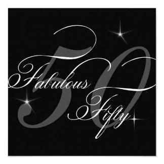 Sagolik 50 femtio svart födelsedagsfest för vit fyrkantigt 13,3 cm inbjudningskort