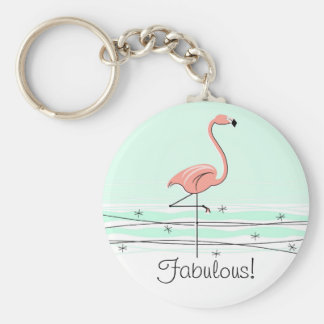 """Sagolik Flamingo """"!"""", nyckelringgrönt Rund Nyckelring"""