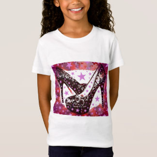 Sagolik Glam högklackar- och stjärnaflickanatt ut Tee Shirt
