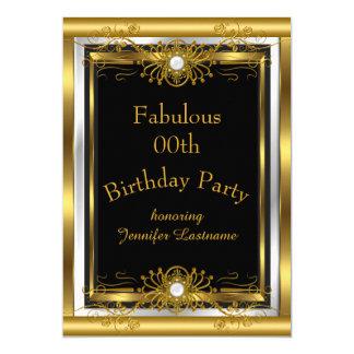 Sagolik guldsvartfödelsedagsfest inbjudan 12,7 x 17,8 cm inbjudningskort