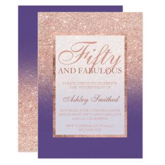 sagolik purpurfärgad chic femtio för rosa guld- 12,7 x 17,8 cm inbjudningskort