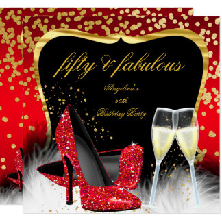 Sagolika 50 för champagneglitter för party röda fyrkantigt 13,3 cm inbjudningskort