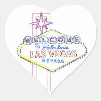 Sagolika Las Vegas Hjärtformat Klistermärke