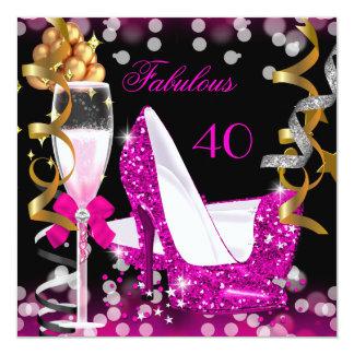 Sagolikt guld för 40 shock rosa bubblar fyrkantigt 13,3 cm inbjudningskort