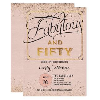 Sagolikt och rosa guld- inbjudan för party femtio