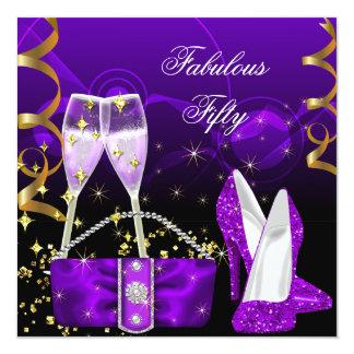 Sagolikt party för femtio lilaglitterhögklackar fyrkantigt 13,3 cm inbjudningskort