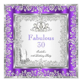 Sagolikt silver för 30 partylilor skor fyrkantigt 13,3 cm inbjudningskort