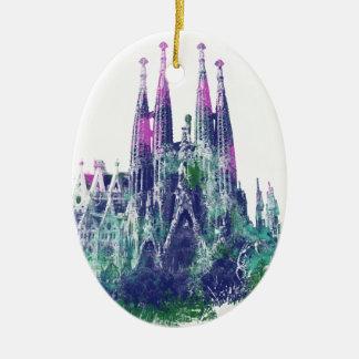 Sagrada Familia Barcelona Julgransprydnad Keramik