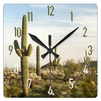 Saguarokaktus, Arizona, USA Fyrkantig Klocka