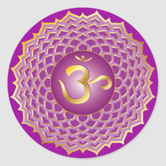 Sahasrara eller kronachakraklistermärke runt klistermärke