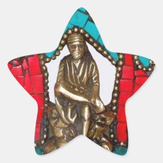 Sai Baba av Sirdi Stjärnformat Klistermärke