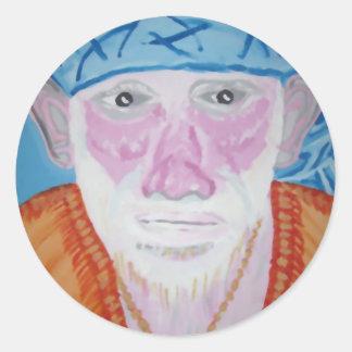 SAI-BABA av välsignelsen för Yogi för Guru för Runt Klistermärke