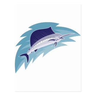 sailfish som hoppar retro stil vykort