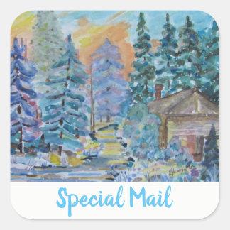 Sakkunniga postar kabinen i skogenvinterplatsen fyrkantigt klistermärke