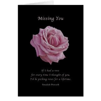 Saknad dig, rosa ros på svart hälsningskort