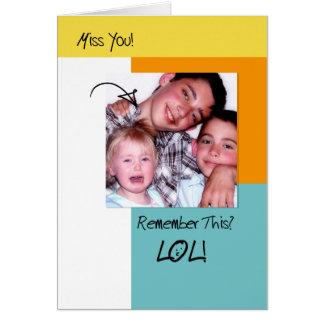 Saknad för foto för roliga minnen för LOL Hälsningskort