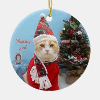 """Saknad för rolig julkatt """"dig! """", julgransprydnad keramik"""