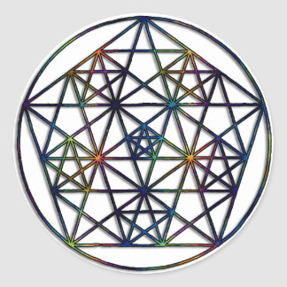 Sakral geometriFractal för överflöd av liv Runt Klistermärke
