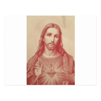 Sakral hjärta för vintage av Jesus Vykort