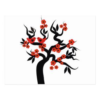 Sakura för röd svart love birds körsbärsrött träd vykort