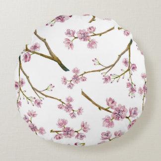 Sakura körsbärsrött blommarmönster rund kudde