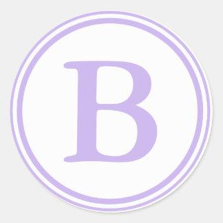 Sälar för rundalila- & vitkuvert med monogramen runt klistermärke