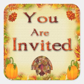 Sälar för thanksgivinginbjudankuvert fyrkantigt klistermärke