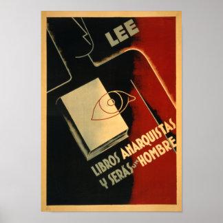 Sällsynt spansk läst inbördeskriganarkistaffisch - poster