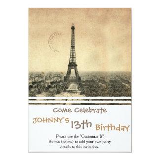 Sällsynt vintagevykort med det Eiffel torn i Paris 12,7 X 17,8 Cm Inbjudningskort