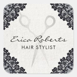 Salong för hår för hårstylistvintage svart snörd fyrkantigt klistermärke