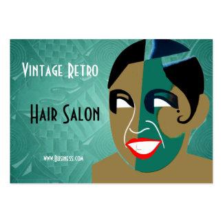 Salong för hår för visitkortvintage Retro Visitkort Mallar