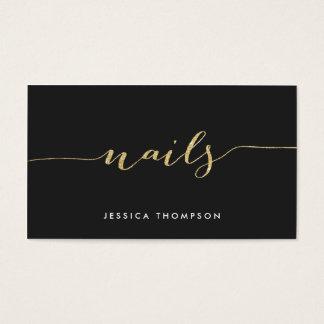 Salong för nagel för svart guld- elegantt visitkort