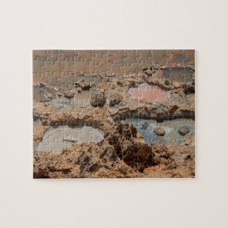 Salt avdunstningdamm, Socotra, Yemen Pussel