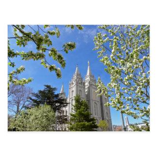 Salt Lake City tempel i fjäder Vykort