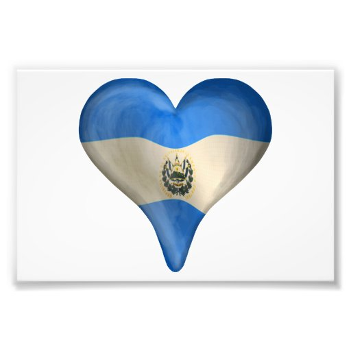 Salvadoransk flagga i en hjärta fotografiska tryck