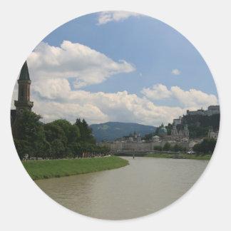 Salzburg slott runt klistermärke