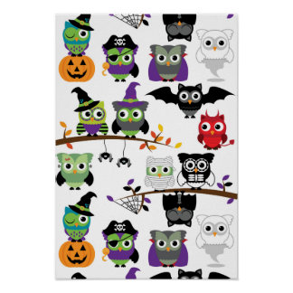 Samling av spöklika Halloween ugglor Poster