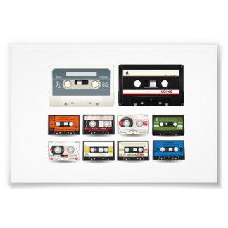 Samlingen av den Retro ljudsignalkassetten tejpar Fototryck