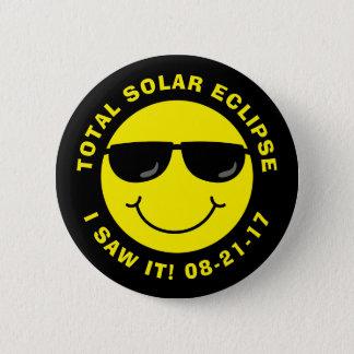 Sammanlagd sol- förmörkelsecoolasmiley face standard knapp rund 5.7 cm
