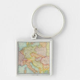 Sammansatt Europa kommunikationer Fyrkantig Silverfärgad Nyckelring
