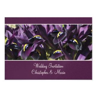 Sammetslen purpurfärgad irisbröllopinbjudan 12,7 x 17,8 cm inbjudningskort