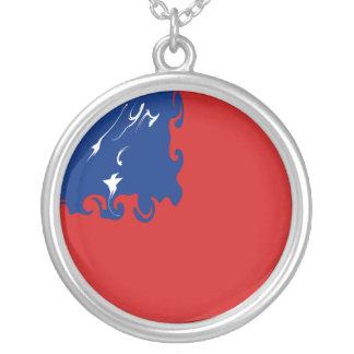 Samoa Gnarly flagga Halsband Med Rund Hängsmycke