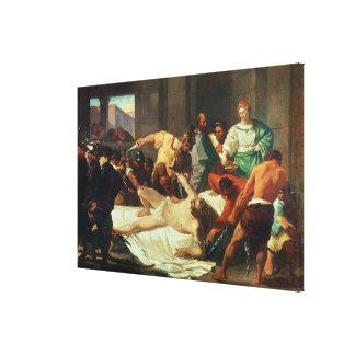 Samson förrådde vid Delilah (olja på kanfas) Canvastryck