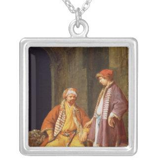 Samtala för två köpmän silverpläterat halsband