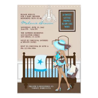 Samtida baby showerinbjudan för chic modern mamma 12,7 x 17,8 cm inbjudningskort