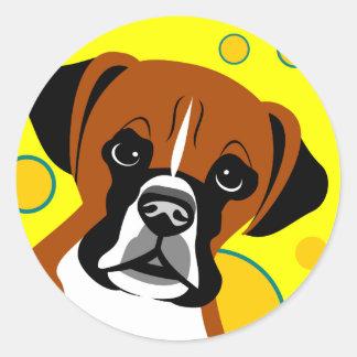 Samtidaa klistermärkear för boxarehundkonst runt klistermärke