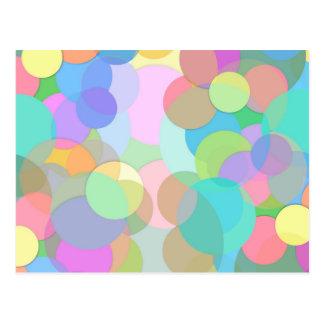 Samtidat färgrikt cirklar och bubblar vykort